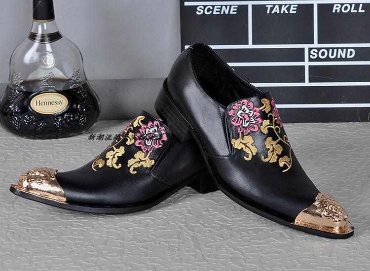 New Hot Sale 2016 Embroidery Flowers Men Dress Shoes Wedding Oxfords Mocassin Homme Black Genuine Leather Italian Men Shoes<br>