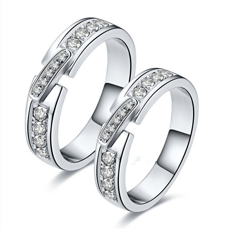 2015 New Design Couple Rings For Lovers Romantic SONA Synthetic Diamond Jewelry 925 Sterling Silver Wedding Ring Platinum Plated(China (Mainland))