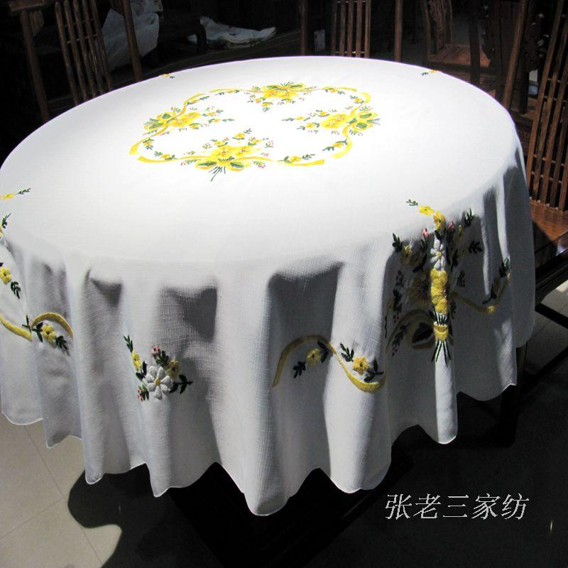 New original single export cotton cloth embroidered cloth pastoral King round white table cloth tablecloth tablecloths(China (Mainland))