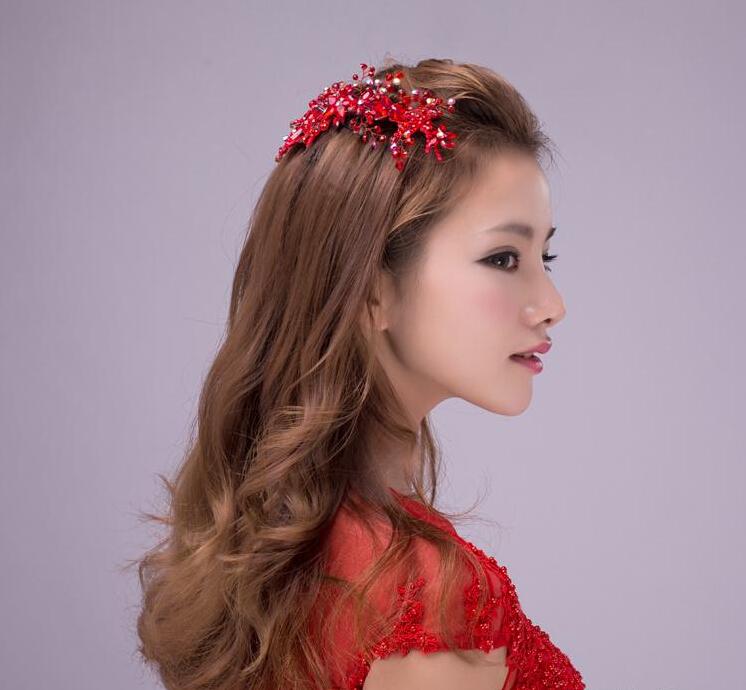Fashion red crystal pearl jewerly tiara wedding hair accessories bridal hair combs ladies womens head decorations headdress<br><br>Aliexpress