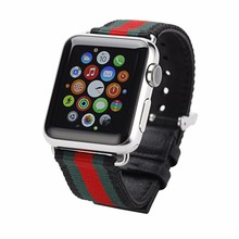 2016 New casual nylon+ Leather Watch Band Classic stainless steel watchband For Apple Watch iwatch 38mm42mm
