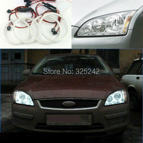 For Ford Focus 2 II 2004-2008 Europe Excellent led angel eyes Ultrabright illumination smd led Angel Eyes Halo Ring kit(China (Mainland))