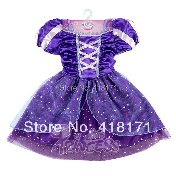 Fairy Tale Girl's Princess Dress Purple Kid's Ocasion Party Ball gown Girls Tulle Costumes Kids Cosplay