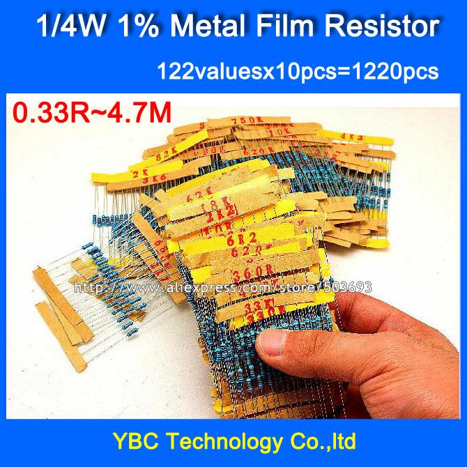 1 4W 0 25W 122valuesX10pcs 1220pcs Metal Film 1 Resistor Kit Resistor Pack for DIY Free
