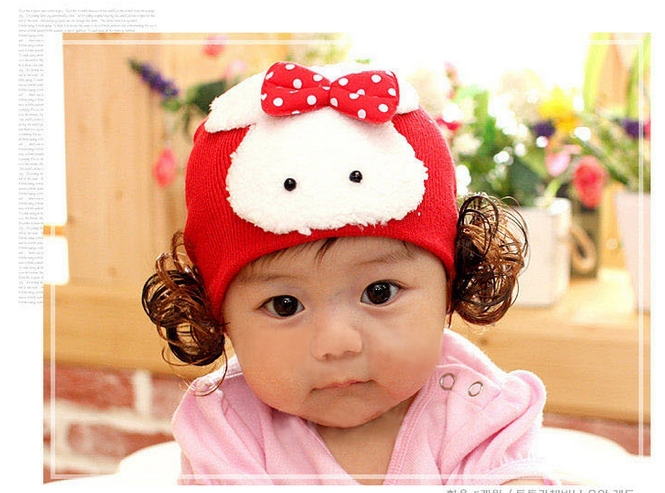 Baby Girl/Boy Autumn and Winter Warm Hat Caps with Rabbit and Bowknot,Wig Decorative,Skullies & Beanies(China (Mainland))