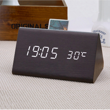 Buy freeship decorative table clocks Control Sensing Alarm Temp dual Display Electronic LED Clock Vintage Wooden Digital Alarm Clock for $19.50 in AliExpress store