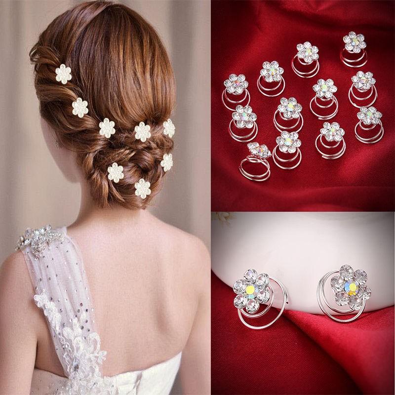 12Pcs Hair Pins Set Flower Hairpins Crystal Headwear Hairpin Hair Jewelry Bridal Wedding Accessories Prom Rhinestone Hair Clips(China (Mainland))
