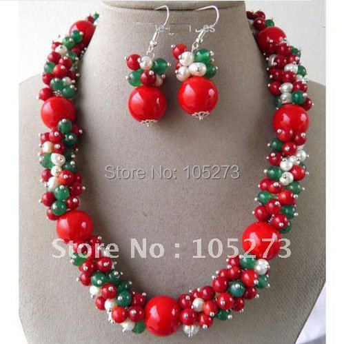 Amazing! white pearl+red coral+green jade Mulitcolor jewelry necklace +earring Fashion jewelry womans necklace Free shipping<br><br>Aliexpress