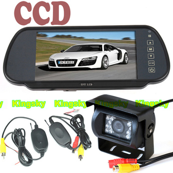 """10pcs/lot 18 IR LED CCD Wireless Reverse Camera + 7"""" LCD TFT Monitor Mirror Car Rear View Parking Assistance System  Free dhl"""