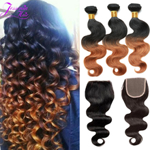 Brazilian Ombre Body Wave With Closure 1B/30 Kiss Hair 8A Ombre Brazilian Virgin Hair With Lace Closure Human Hair Weave Bundles