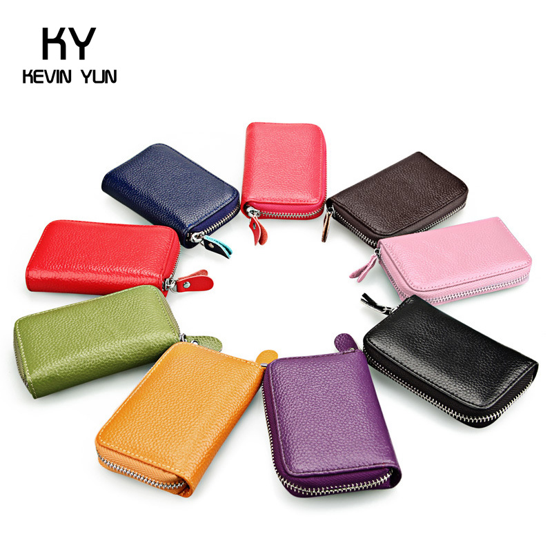 Fashion 12 candy colors women credit card holder genuine leather wallet designer purse ID card case(China (Mainland))