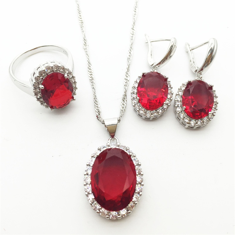 2015 New ROSE Ruby Garnet Crystal 925 Silver Jewelry Sets For Women Earrings/Necklace/Pendant Ring Size 6 7 8 9 Free shipping(China (Mainland))