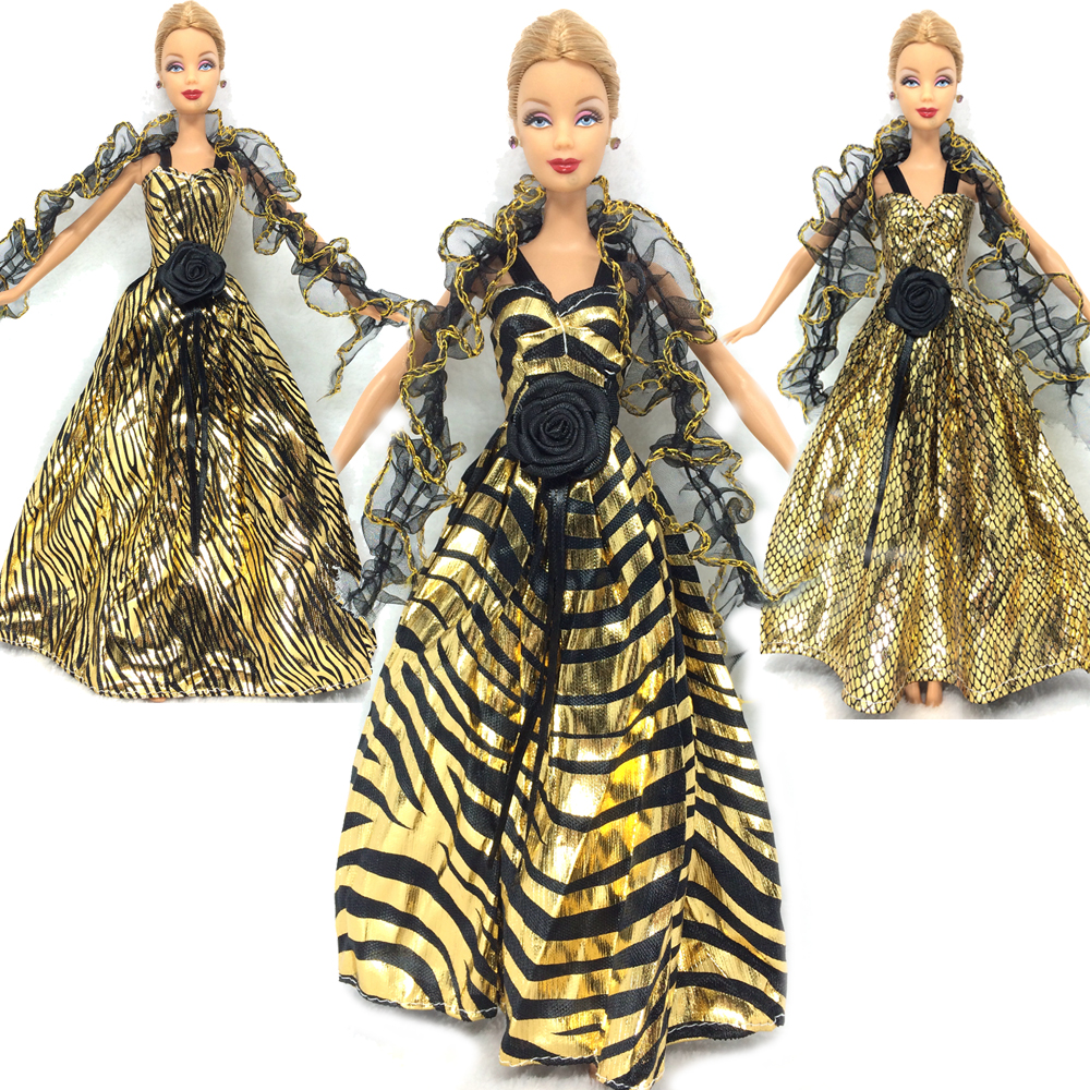 NK  3 Set/Lot 2016 Newest  Princess Golden Dress Lace Tippet  Noble Party Gown For Barbie Doll Fashion Design Outfit Best Gift<br><br>Aliexpress