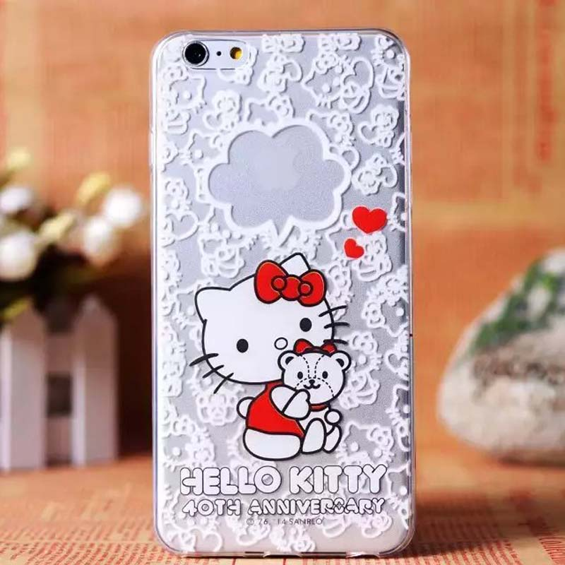Hot Quality Ultrathin For Apple iphone 6 6Plus TPU Cute Cartoon Hello Kitty Phone Case Cover For iphone 6 6Plus KS0034(China (Mainland))