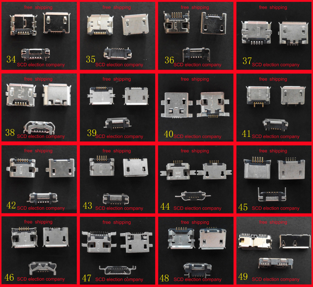 16 models micro usb jack 5p 5 pins mini usb connector for Samsung HTC Lenovo ZTE...mobile phone tablet pc mid(China (Mainland))