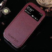 luxury original case for samsung galaxy s4 s 4 i9500 by fashion pu leather holster view phone flip window retro stand bag cover