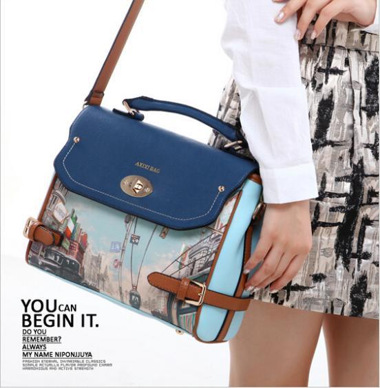 2014 Fashion Printing Women Student Leather Handbag Vintage Purse Ladies Travel Messenger Bags,New Shoulder Bag Free Shipping!<br><br>Aliexpress