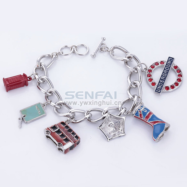 Punk Style Charm Bracelet Personalized Boot Umbralle House Bus Metal Tag Charm Bracelet Fashion Chain Bracelet in Aliexpress(China (Mainland))