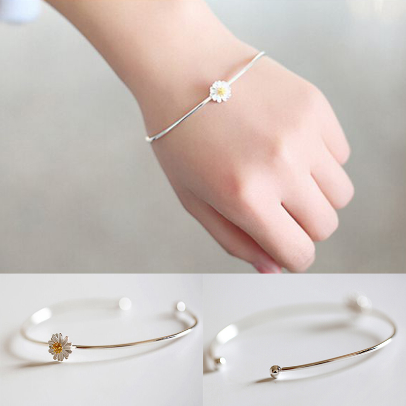 Fashion Braclets for Women Simple Style Silver Little Daisy Bangle Allergy Free Cuff Bracelet Silver Bangles(China (Mainland))