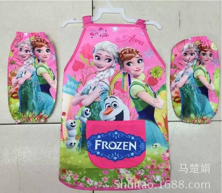 Snow Queen Girls Aprons/Kids Cartoon Elsa Anna Waterproof Sleeved Aprons For Paiting/Lunch /Children Princess Kitchen Cover Up(China (Mainland))