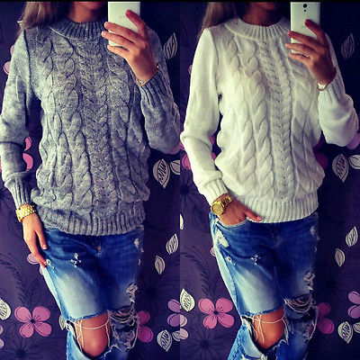2016 Womens Casual Jumper Crew Neck Long Sleeve Pullover Tops Knitted Sweater Winter WHolesale