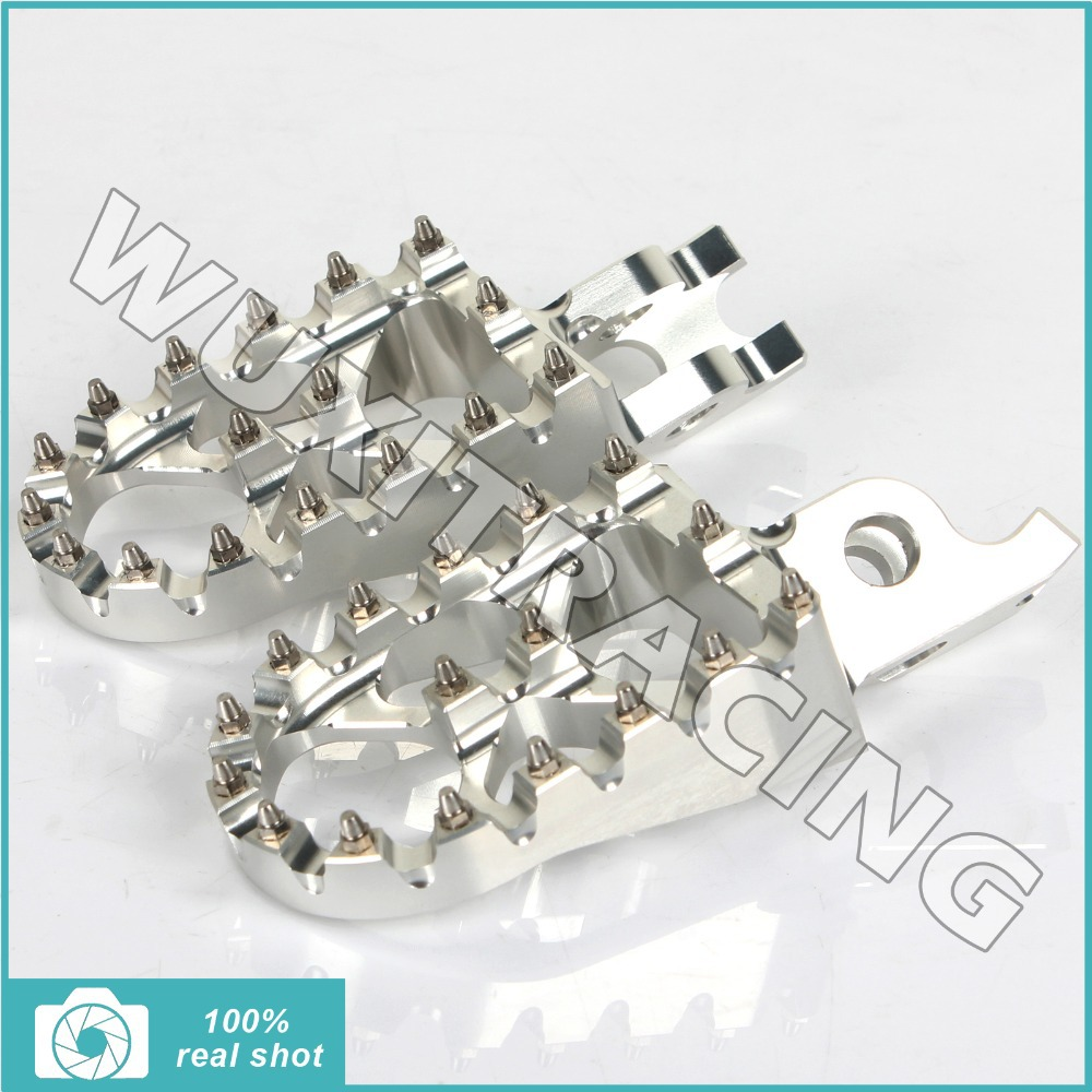 SILVER MX Motocross Wide Fat Footpegs Footrests for Honda CR125 250 CRF 150 250 450 02 03 04 05 06 07 08 09 10 11 12 13 14 15(China (Mainland))