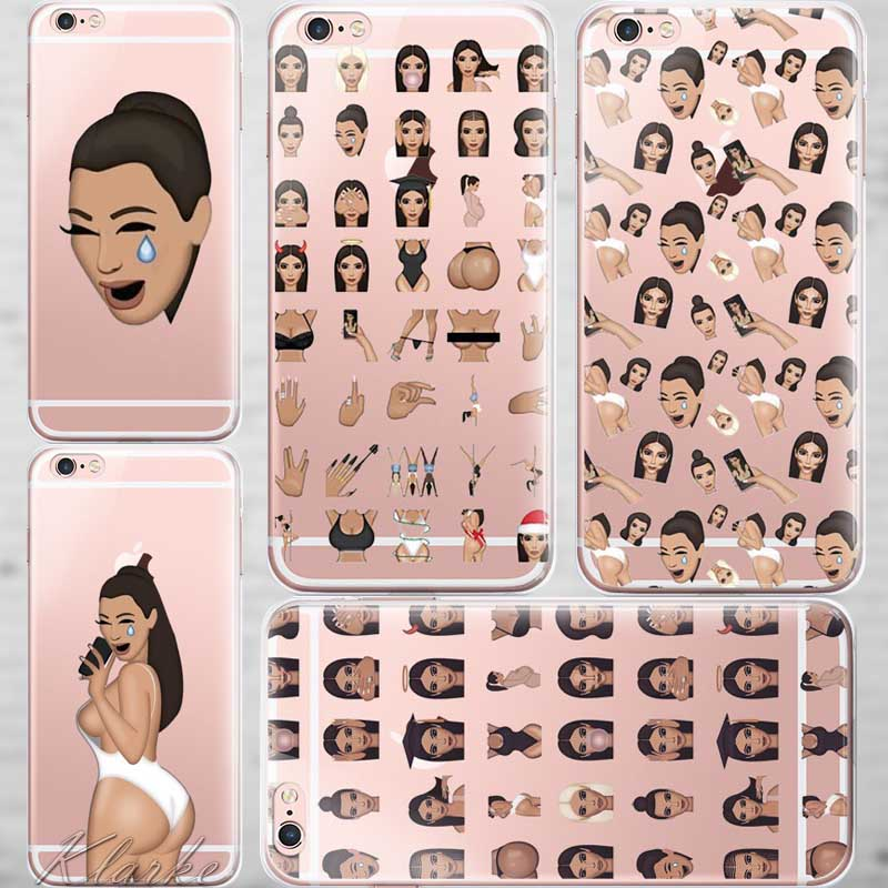 Unique Design Ugly Crying Face KIMOJI Case For iphone 6 6s Transparent Silicone Cell Phone Cases Cover(China (Mainland))
