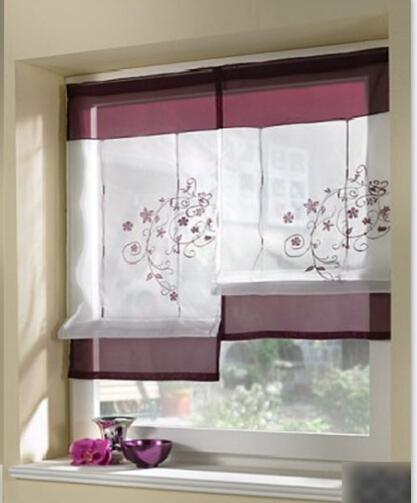 1 PC borde flor curto Sheer cortinas para sala de estar cozinha da janela cortinas persianas cortinas Roman sombra cegos(China (Mainland))