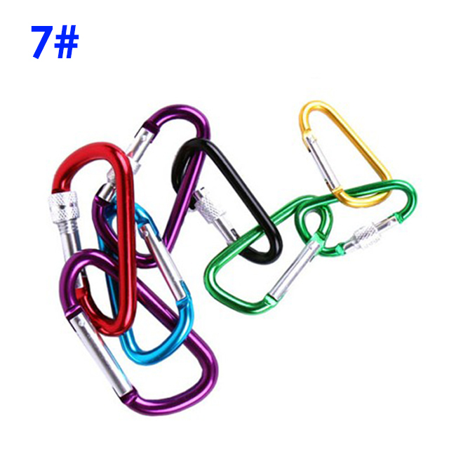 6pcs/lot 7# Mix color D Type Mountaineering Buckle with lock Aluminum Climbing Carabiner Keychain Climbing Hook more safty(China (Mainland))