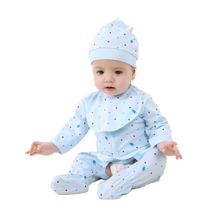 New Children Pajamas Set Cotton Baby Suit Cartoon Cow Newborn Clothes Long Sleeve Boys Girls Autumn Dot Children Pajamas Set(China (Mainland))
