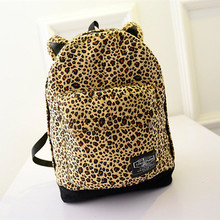 New Women Leopard Backpack With Cute Cat'S Ear Fashion Rucksack Double Shoulder Bags For Teenager Girl's School Bag(China (Mainland))