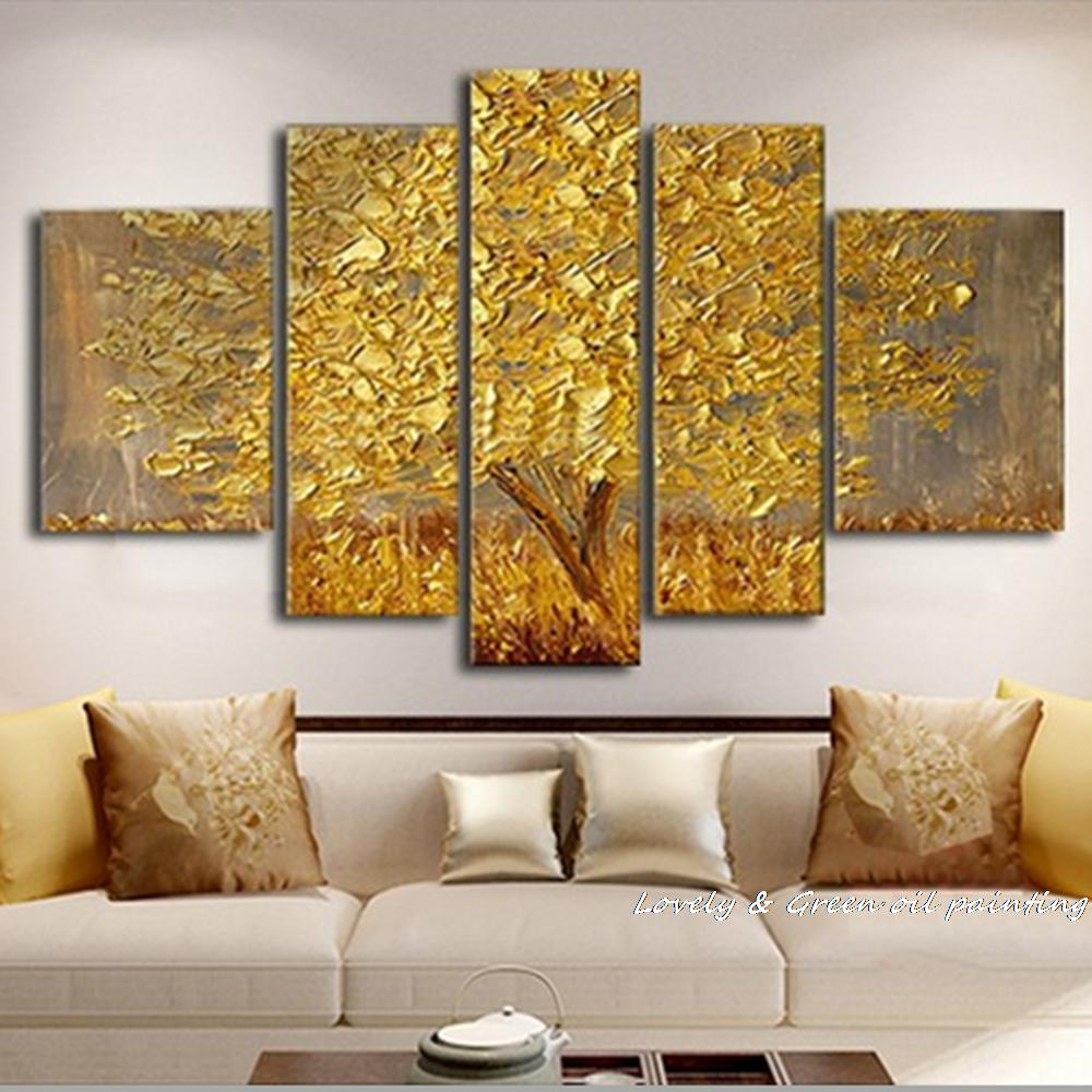 handmade golden tree abstract oil painting on canvas wall art wall picture decor. Black Bedroom Furniture Sets. Home Design Ideas