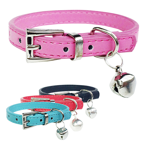 Fashion Faux Leather Pet Collar Cat Puppy Dog Bell Pendant Buckle Neck Strap(China (Mainland))