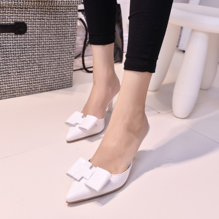 2015 high-heeled pointed toe slippers female fashion semi-drag thin heels female slippers<br><br>Aliexpress