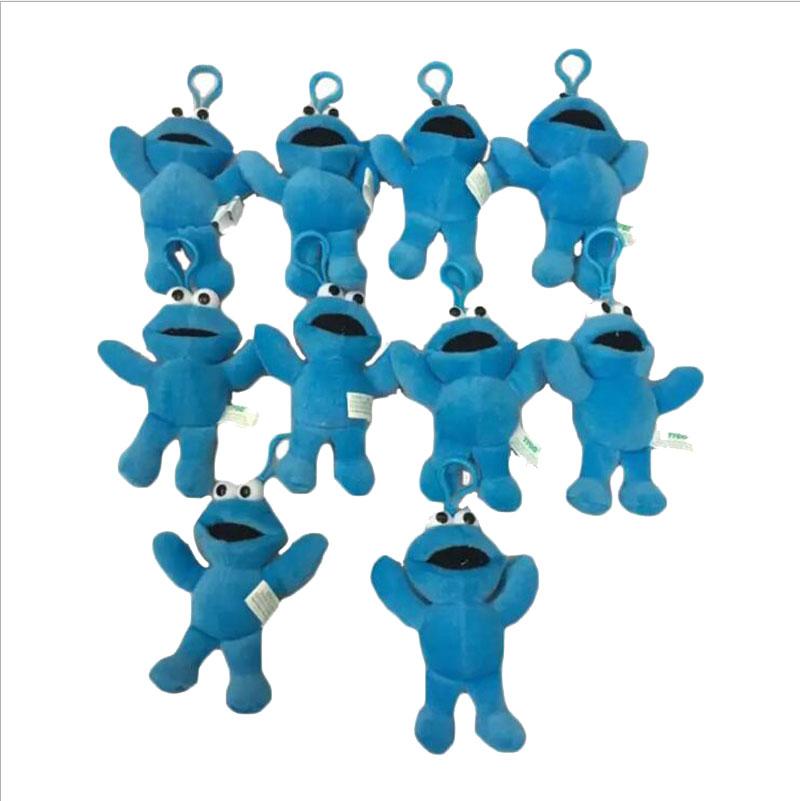 10PCS/LOT Sesame Street Cookie Monster 12.5CM Stuffed Plush Toys Dolls With Keychain Soft Dolls(China (Mainland))