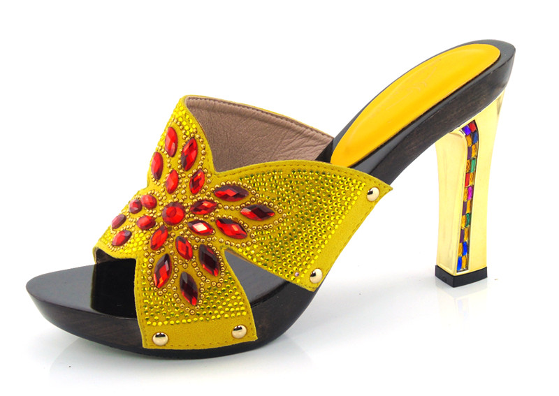 DX16-709 Yellow Colors Custom Handmade Multicolor Slippers Wedding Shoes Women Shoes Evening Dress Shoes(China (Mainland))