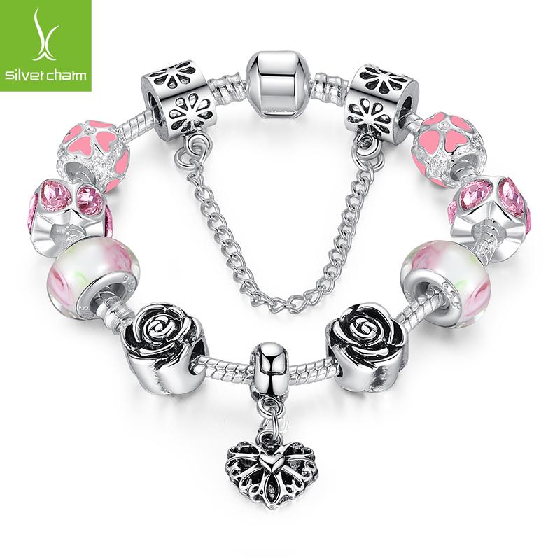 Hot Sale 4 Colors 925 Silver Beads Heart Charm Strand Bracelet for Women Fine Jewelry Original Bracelets Pulseira(China (Mainland))
