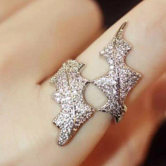 haute couture brand monaco designer accessories fashion unique full rhinestones Seaweed single finger joint ring for women(China (Mainland))