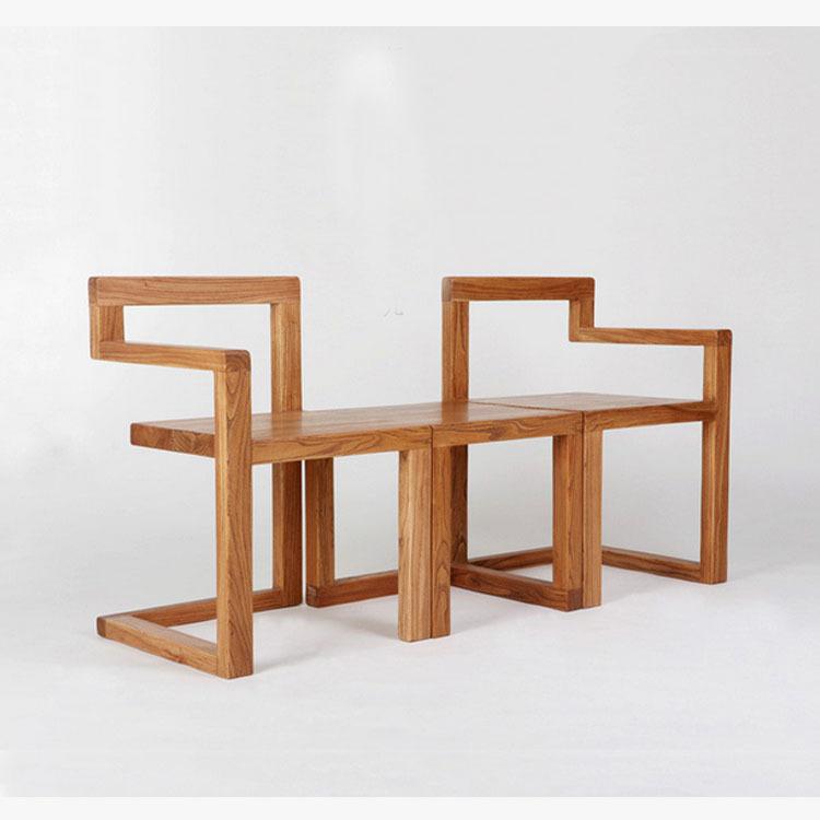 Minimalist / modern cafe tearoom old elm wood furniture chairs chair lounge  chair armchair Nordic(