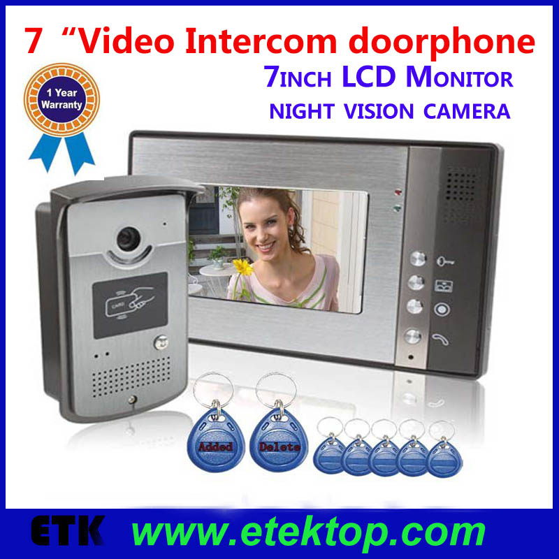 "HOT 7""TFT LCD Display Screen Visible Intercom Doorbell Doorphone Real-time Live IR Night-vision CAM Video Door Phone Door Bell(China (Mainland))"