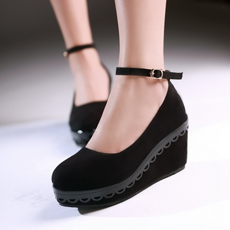 New style wedges women pumps fashion Carving suede high heels shoes woman sapatos femininos chaussure femme size 35~43