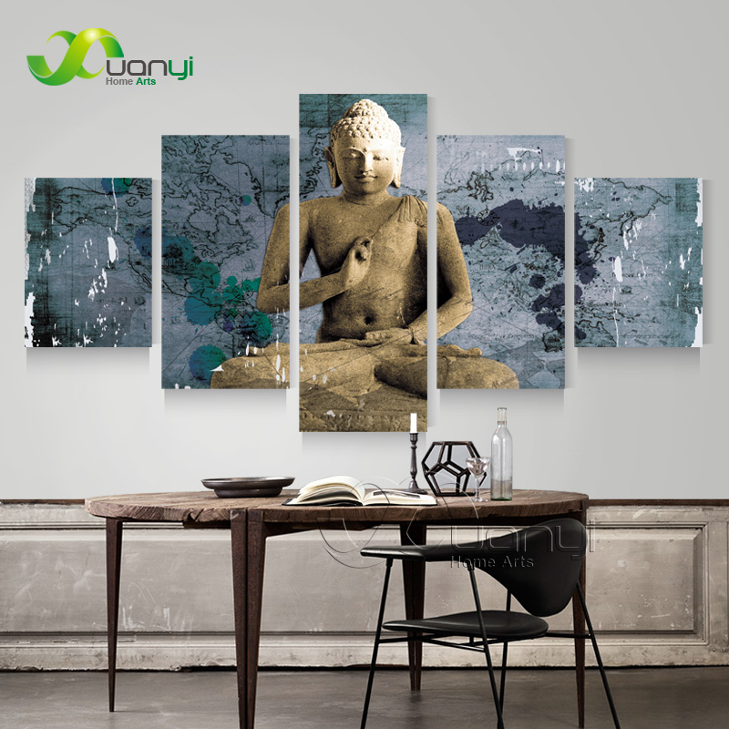 5 Panel Buddha Painting Modern Home Decoration Buddha Canvas Art Wall Picture Vintage Home Decor Canvas Prints Unframed PR1264(China (Mainland))