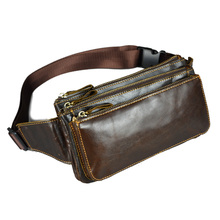 Genuine leather cowhide small waist bags for men Tactical mans belt wallets chest pack fanny pack sports male shoulder bag
