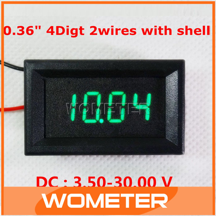 20pcs/lot 0.36 Green LED Display DC Digital Volt Panel Meter DC 3.5-28V 4 Digit Motorcycle Voltage Gauge Volt Table#201015<br><br>Aliexpress