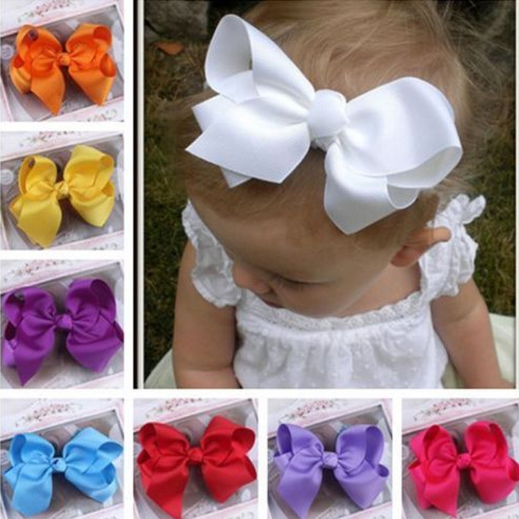 Hot Sale Grosgrain Ribbon Bow Hair Clip Pin Flower Baby Girl Headdress Accessories Orange Pink Green Yellow White Black BB-156(China (Mainland))