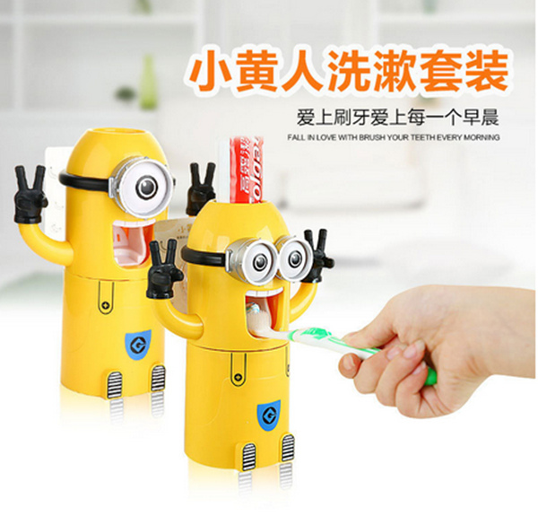 Toothbrush Holder Minions Design Wash Set Toothbrush Holder Automatic Toothpaste Dispenser with Brush Cup Bathroom Accessories(China (Mainland))