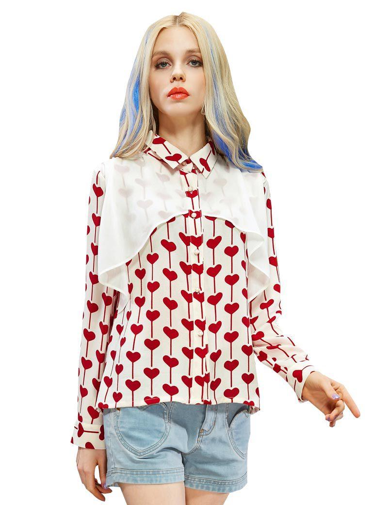 ELF SACK fashion brand 2015 young girl spring heart print turn-down collar shirt blouses buttons