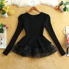 Wholesale women girl knit sweater dress lady girls knitted sweater gauze tutu dress female girl's fashion sweaters dresses tulle(China (Mainland))