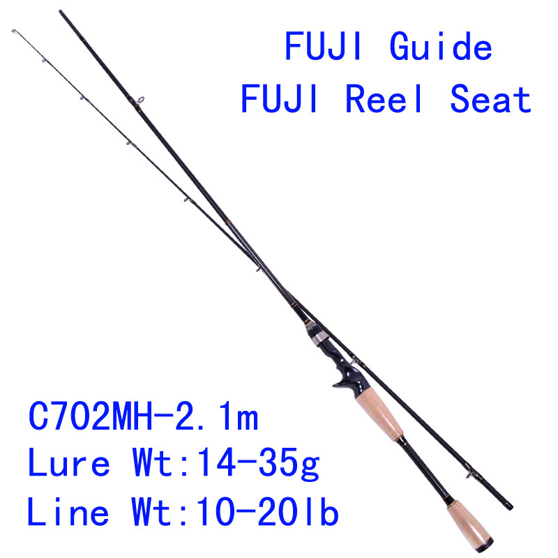 Trulinoya PRO FLEX C702MH 2.1m Carbon Bait Casting Fishing Rod  MH Power Fuji Guide Reel Seat Lure Rod Pesca Tackles Cork Handle<br><br>Aliexpress