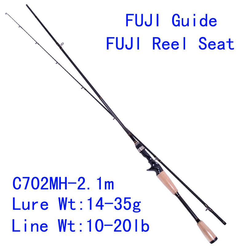 Trulinoya PRO FLEX C702MH 2.1m Carbon Bait Casting Fishing Rod MH Power Fuji Guide Reel Seat Lure Rod Pesca Tackles Cork Handle(China (Mainland))